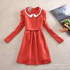 Wholesale New Autumn Korean navy beaded lace collar temperament ladies long-sleeved dress was thin princess dress