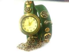 Retro Silver Rose rivets | small lady belt watch strap | winding Watches | Green