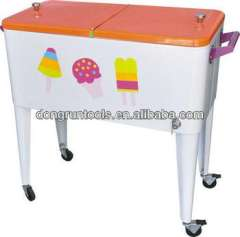 outdoor Rolling retro cooler cart with wheel cooler box ice cooler beverage cart(HX1104B)