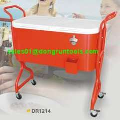 patio garden retro metal beer rolling cooler cart with wheel and tray (DR1207)