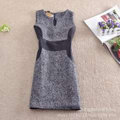 Wholesale Europe and America 2013 Dongkuan PU trim stitching woolen sleeveless dress bottoming
