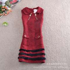 Wholesale Korean version of the new autumn and winter plush side temperament spell color Slim sleeveless woolen vest dress