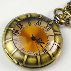 Bronze electronic pocket watch | Retro transparent crystal surface