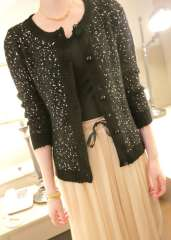 Fashion brief women's 2013 all-match fashion paillette decoration straight long-sleeve sweater cardigan clothes