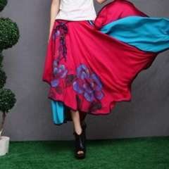 National classical women's trend color block decoration expansion skirt bust skirt