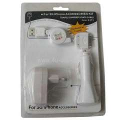 3 in 1 Kit (EU Plug USB Charger, Car Charger, USB Cable) For iPhone 3G\ 3GS