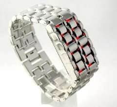Lava LED Watch | Mens | Silver with red light