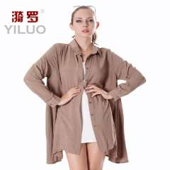 2013 unisex autumn female 100% long-sleeve cotton shirt fashion solid color plus size outerwear turn-down collar women's