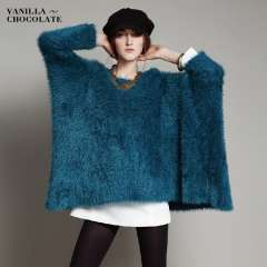 2013 winter fashion women's batwing sleeve sweater outerwear pullover loose medium-long plus size knitted sweater