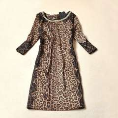 2013 new European and American women retro fashion was thin long-sleeved round neck leopard bottoming spring dress