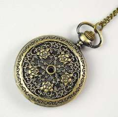Retro transparent electronic pocket watch | bronze pocket watch Louhua