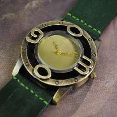 Retro new leather watch | neutral big numbers | Korean men and women really belt quartz watch | Green
