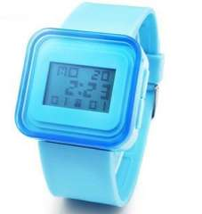 Fashion Square jelly electronic watches | light blue