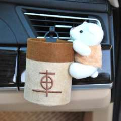 Cartoon bear plush car outlet receptacle cylinder