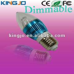 Blue apperance E27 3w dimmable led light candle bulb with CE, Rohs, FCC