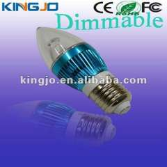 Blue apperance E27 3w dimmable led candle lights with CE, Rohs, FCC