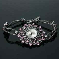 Ancient silver inlay pink diamond bracelet watch Ms. quartz disk | adjustable length