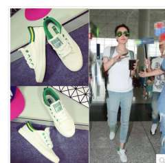 Spring and summer Faye Wong same paragraph white canvas shoes student shoes flat shoes lace casual shoes white shoes