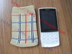 Classic color stripe plaid cotton knit cell phone bag | fashion digital products protective sleeve | personality pattern jacquard cell phone package | custom activity Souvenir phone pocket