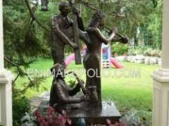 playing music bronze figure sculpture