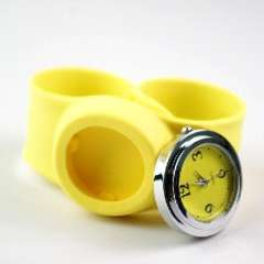 Silica quartz electronic wristwatch pops circle | yellow strap flat roll freely alternative