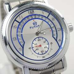 Men's stainless steel mechanical watch with a calendar disc | Silver