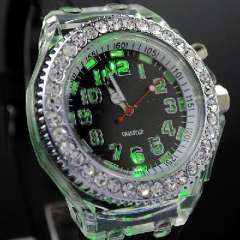 Rainbow Light inlay diamond silicone jelly quartz foreign trade watches | Black