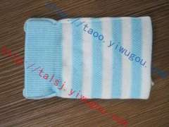Classic blue and white striped knit monolayer cell phone pocket | personality stripe pattern jacquard digital products protective sleeve | custom knitting advertising phone package | Advertising MP3 C