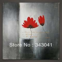 Free shipping two flowers are red, Abstract decorative, hand-painted Oil paintings, 50 x50cm (20 x20 inches)