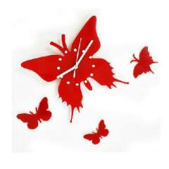 Stylish simplicity personality | Butterfly wall clock | Black | Red | Color Random