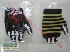 SF red Prancing Horse logo jacquard care palm | personality Racing fingerless gloves | Black gold stripe pattern knit nursing palm | motorcycle gloves | Stage Performance Gloves