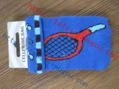 Tennis racket pattern turned mouth blue knit cell phone bag | customized badminton double jacquard pattern phone package | all kinds of custom design, logo knitted mobile phone sets