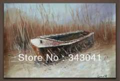 Free shipping Original Hand-painted Oil Painting Abstract boat16*24inch on canvas