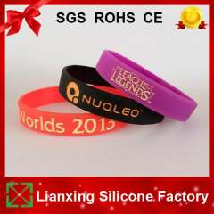 500pcs\lot Customized Debossed and Color Filled Silicone Bracelets