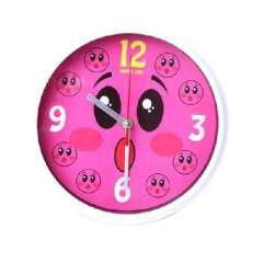 Round cute face digital mute metal clock / wall clock