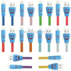 Smile Pattern Noodle Style 8 Pin USB Sync Data Cable