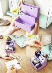 Korea lovely stationery creative coffee cake theme DIY desktop storage box sorting boxes storage boxes | Purple