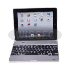 KM2 Wireless Bluetooth Keyboard Case Cover for Apple iPad 2 - Silver