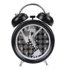 Trumpet lazy alarm clock / double bell mute alarm clock - black and white pretty girl