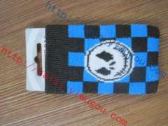 Cool ghost Jack avatar black blue plaid knit monolayer cell phone pocket | personality skull digital products protective sleeve plaid Ghost jack