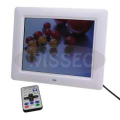 8inch TFT Multi Function Plastic Digital Photo Frame with Stand - White
