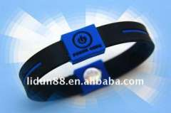2011 Color-blue Power Core Bracelets with hologram, 100% silicone, Anti-radiation and harmless to body