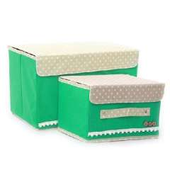 Japanese-style buttoned storage box / storage box | Green