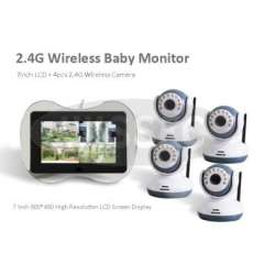 4CH 2.4G Wireless Baby Monitor with 7inch 800*480 Monitor and 4pcs 2.4G wireless Camera