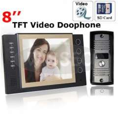 8 TFT Monitor LCD Color Video record Door phone DoorBell intercom system, with IR