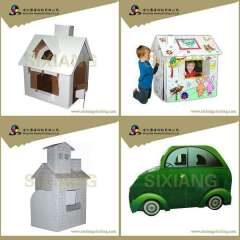 Painting cardboard small house toy for kids with stars and moons
