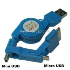 Micro USB, Mini 5pin Multi-functional Retractable Data Sync & Power Charge cable