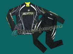 2010 Scott Team Black Cyling Long Sleeve Jersey and Pants Set