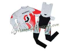 2011 Scott RC Pro White And Red Cycling Long Sleeve Jersey And Bib Pants Set