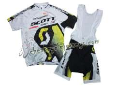 2011 Scott WhiteYellow Cycling Jersey and Bib Shorts Set